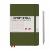 Записная книжка блокнот Leuchtturm Red Dots A5 (в точку), хаки