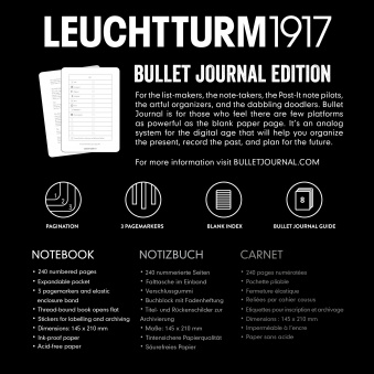 Записная книжка блокнот Bullet Journal Leuchtturm A5 (в точку), черная